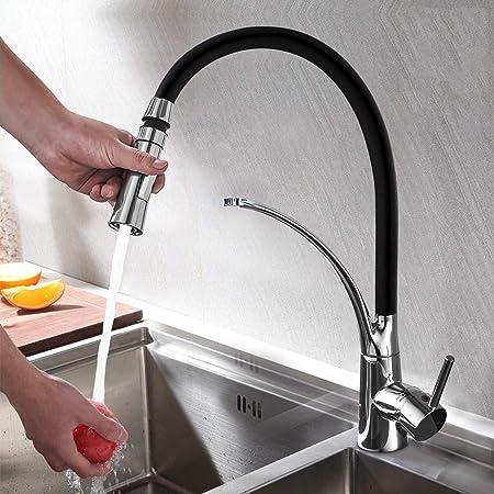 Ausziehbare Küchenarmatur Niederdruck Armatur Küche Wasserhahn schwarz Armatur M
