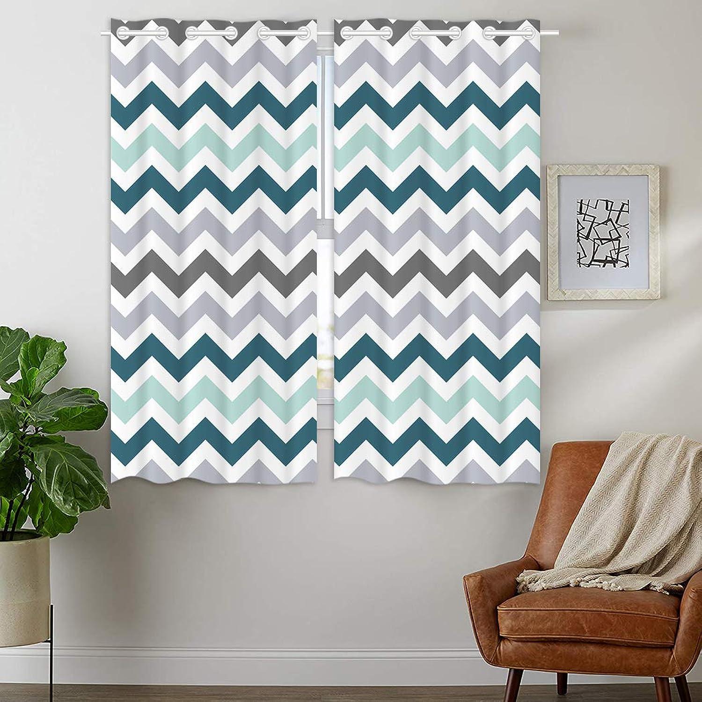 HommomH 28 x 48 inch Curtains (2 Panel) Grommet Top Darkening Blackout Room Chevron