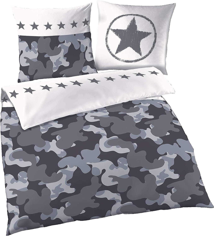 Camuflaje Juego de cama · estrellas & Camo · Militar Trend/Army Print · Cojín con motivo reversible, diseño · nórdica (2 piezas, almohada de 80 x 80 + 135 x 200 cm · 100% algodón