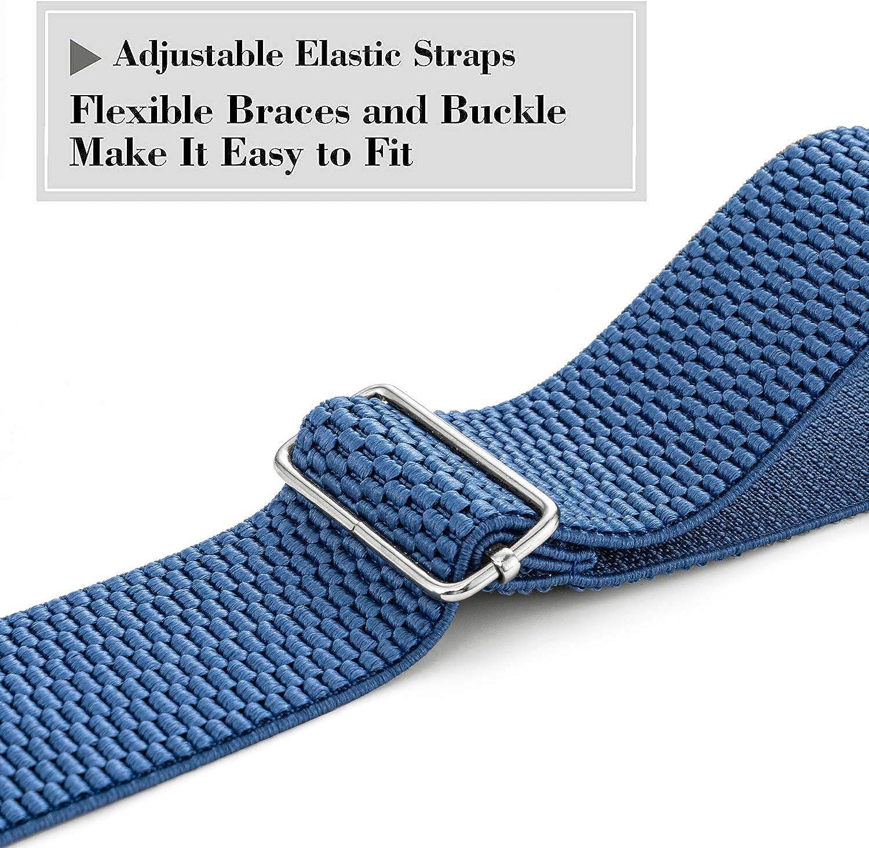 HBselect Bretelles Homme Larges R/églable /Élastique Extra Fort 4 Clips en forme X,Bretelles Homme Larges et Vintage