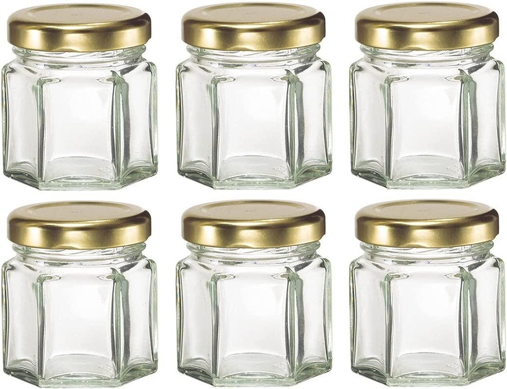 Nakpunar 6 Pcs 1 5 Oz Mini Hexagon Glass Jars For Jam Honey Wedding Favors Shower Favors Baby Foods DIY Magnetic Spice Jars