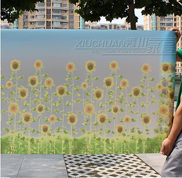 2017snow 90X200cm Frosted Privacy Glass Film Static With Glue Cling Window Film Sunflower Frosted Stained Glass Stickers