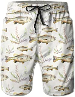 Watercolor Bass Fish Seaweed Men's Quick Dry Beach Board Shorts Summer Swim Trunks for Father's Day for Boy Swimming
