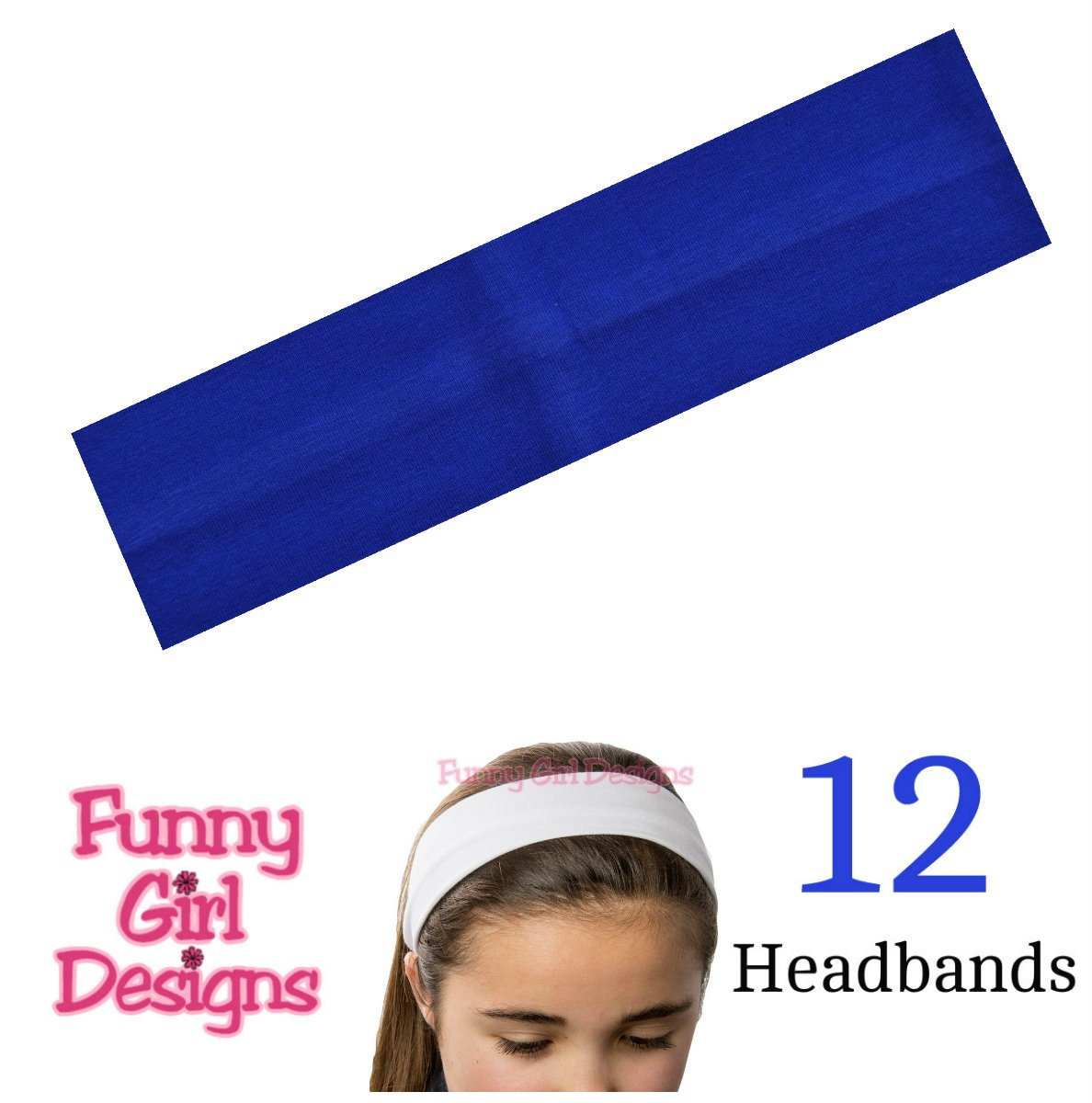 1 DOZEN 2 Inch Wide Cotton Stretch Headbands (Official Funny Girl Royal Blue)
