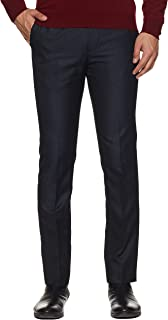 Arrow Men Navy Mid Rise Flat Front Formal Trousers
