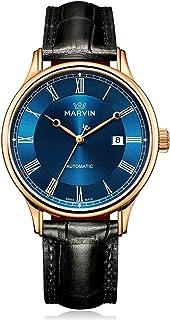 マービン スイス 自動巻き メンズ カジュアル 腕時計 レザー 機械式 ブラック 腕時計 メンズ 防水 ブルー/ブラック