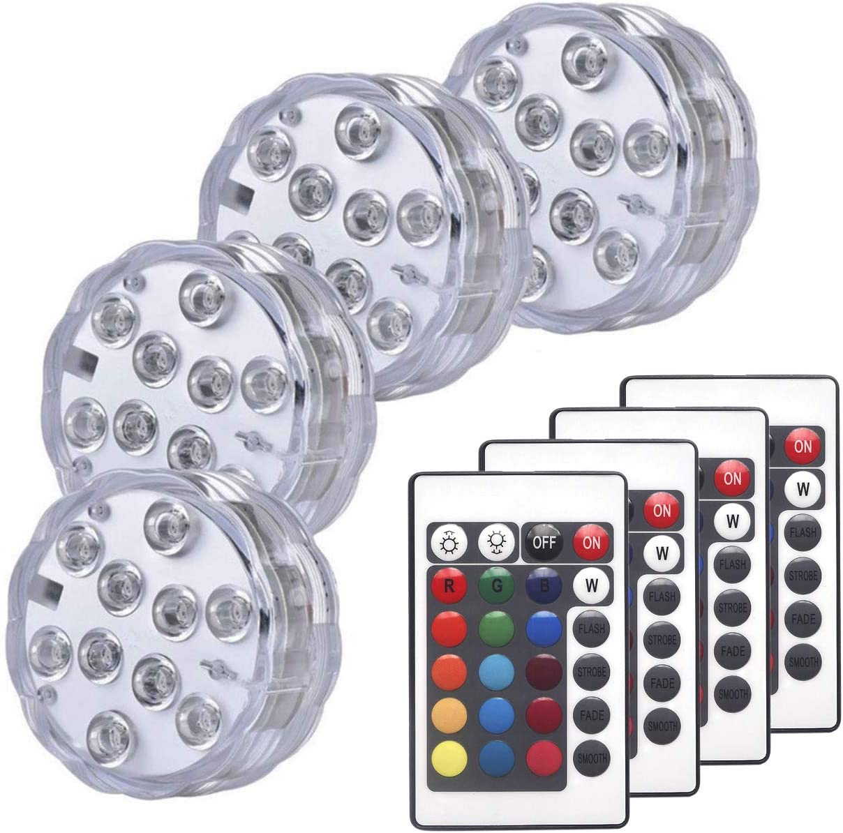 Sunyel Submersible LED Lights, 16 Colors 4 Modes Battery Powered RGB Floral Lights with 24-Key Remote (4-Pack)