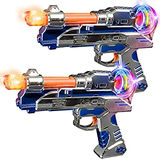 ArtCreativity Super Spinning Space Blaster Toy Gun Set with Flashing LEDs and Sound Effects, Set of 2, Cool Futuristic Toy...