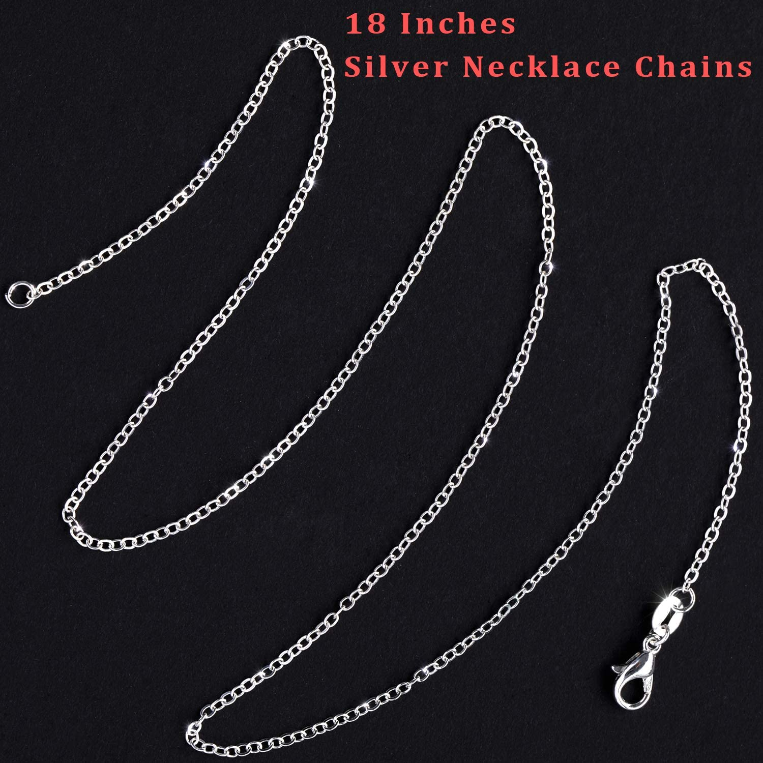 50 Pack Silver Plated Necklace Chains Bulk Cable Chain Pack for Jewelry Making 18 Inches