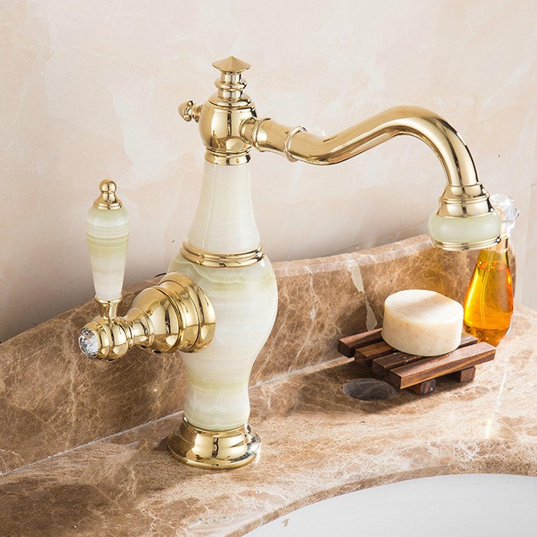 LHbox Bad Armatur in Bad für Waschbecken Waschtisch Wasserhahn Waschtischarmatur Zirkon Gold Kupfer Yuk-Single Schalten Sie aus Dem Wasser und Kaltes Wasser Waschbecken Wasserhahn