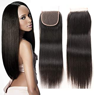 ZXZ Brazilian Straight Human Hair 10-18 Inch 44 Free Part Lace Closure Natural Color (10, ST)