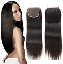 ZXZ Brazilian Straight Human Hair Lace Closure 12 Inch 4x4 Free Part Swiss Lace Closure 130% Density Virgin Human Hair Natural Color (12, ST)
