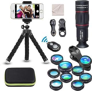 Kit de lente de cámara universal para teléfono Teleobjetivo 18X Lente gran angularmacro ojo de pez filtro CPL Flow Star Radial trípode obturador remoto para la mayoría de los teléfonos inteligentes