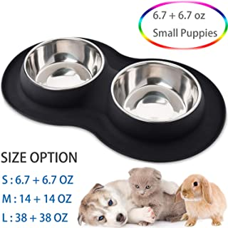 Kulmeo Double Dog Bowl Cat Food Bowls Stainless Steel Dog Food and Water Bowls with Non Skid Silicone Mat Spill Proof Small Puppy Bowl