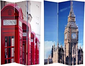 Oriental Furniture 6 ft. Tall Double Sided London Room Divider - Big Ben/Phone Booths