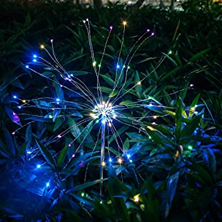 Aniai 2 Pack Solar Firework Ground Light, Outdoor Garden Decorative Lights-105 LED Powered 35 Copper Wires, DIY Flowers Fireworks Stars for Walkway Pathway Backyard Christmas Party Decor (Multicolor)