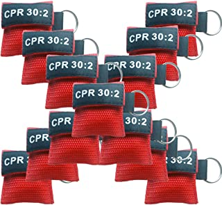 100x CPR Rescue Mask Pocket Resuscitator 30:2 CPR Mask Keychain Ring Emergency Kit Rescue Face Shields with One-Way Valve Breathing Barrier red