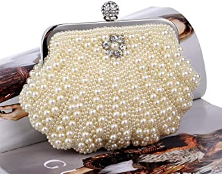 Redland Art Women's Fashion Mini Pearl Beaded Shell Clutch Bag Wristlet Shoulder Crossbody Evening Handbag Catching Purse for Wedding Party (Color : Yellow)