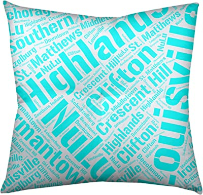 Artverse Rand Cites Austin Texas Districts Word Art Cyan Floor Pillow Square Tufted Home Kitchen