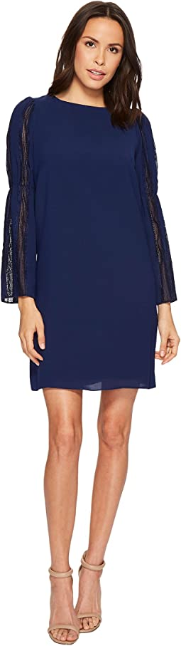 Trapeze Swing Dress with Lace Trimmed Bell Sleeves