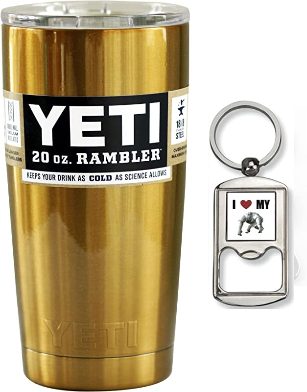 Yeti Custom Powder Coated Gold Stainless Steel 20oz 20 Oz Rambler Tumbler With Lid Gold