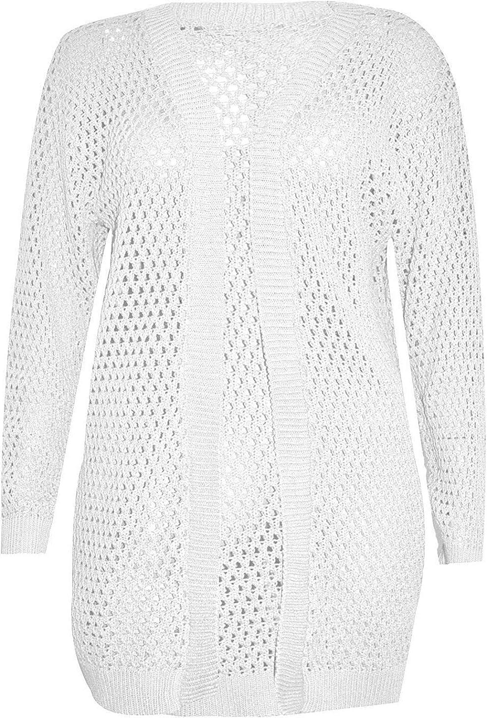 GirlzWalk New Women Ladies Fish Net Crochet Bolero Long Cardigan Plus Sizes Top