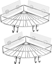 Shower Corner Shelf, YULEER 304 Stainless Steel Adhesive Shower Rack with 4 Hooks, 2 Pack Wall Mounted Shower Organizer fo...