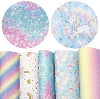 David Angie Unicorn Printed Faux Leather Sheet Rainbow Color Glitter Synthetic Fabric Assorted 5 PCS 8