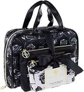 Adrienne Vittadini Cosmetic Bag Set: 3 Travel Makeup Toiletry Bags with Zippered Closure - Large Satchel & Medium & Small Square Cases - Black and White Floral