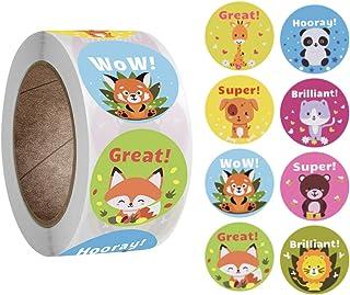 500pcs Teacher Motivational Stickers for Kids,deal Stickers for Kids Behavior incentives1 Inch,Cute Animal Stickers,8 Desi...