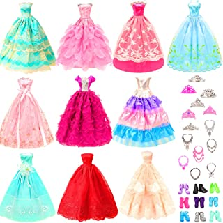 BARWA 10 Pcs Dresses with 17 Accessories Handmade Doll Clothes and Accessories Wedding Gowns...