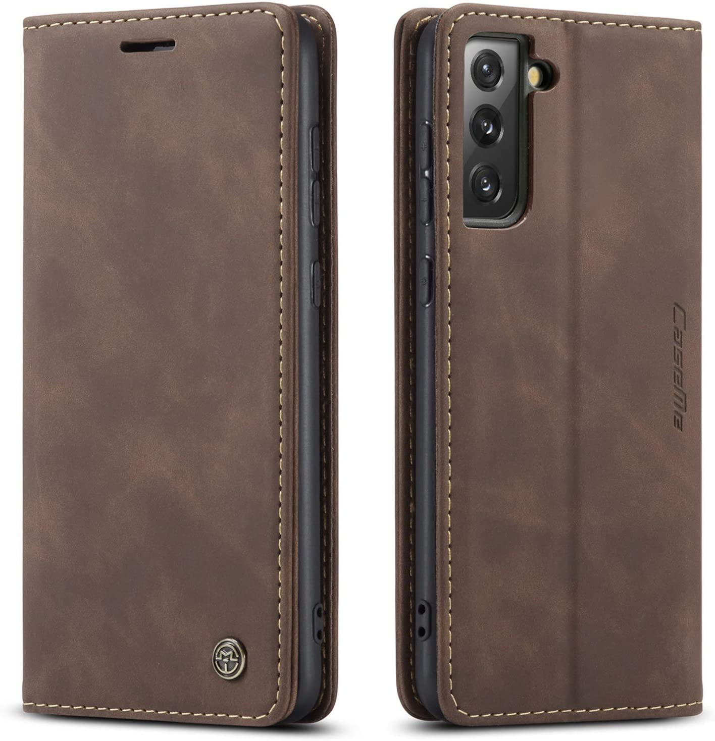 Kowauri Flip Case for Galaxy S21,Leather Wallet Case Classic Design with Card Slot and Magnetic Closure Flip Fold Case for Samsung Galaxy S21 5G (Coffee)