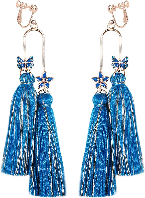Extra Long Fringe Earrings Clip on No Pierced Tassels Thread Flower Lightweight Bohemian Dangling Statement Handmade Women Girls