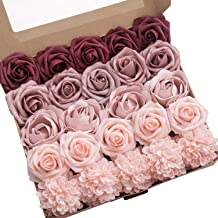 Ling's moment Artificial Flowers Combo for DIY Wedding Bouquets Centerpieces Arrangements Party Baby Shower Home Decorations (Delicate Dusty Rose)