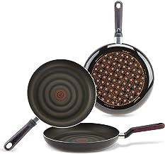 Tefal Comfort Grip - Set 3 sartenes aluminio de 20, 24 y 28 cm, exterior negro esmaltado, antiadherente extra de titanio, para todo tipo de cocinas (menos inducción)
