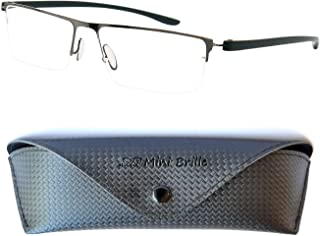 3bb092c0f5 Gafas de Lectura con Cristales Rectangulares   Media Montura de Acero  Inoxidable (Grafito)