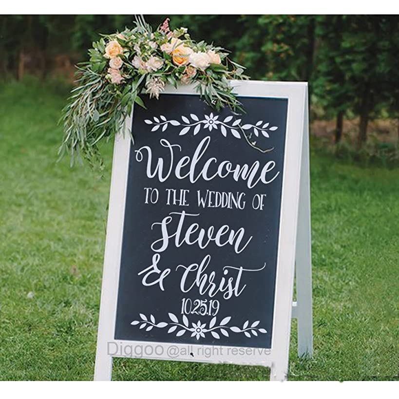 Wedding Decor Sign Welcome Decal Chalkboard Decals Welcome to The Wedding Sign Custom Wedding Name and Date Decal (24