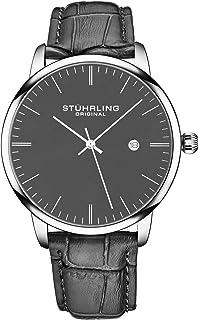 ساعة ستاهرلنغ اورجينال للرجال كوارتز تاريخ التاريخ، غطاء من خليط معدني، حزام جلدي