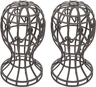 OSALADI 2pcs Modern Wire Design Plastic Hat Wig and Cap Rack Display Racks Dresser Top Decorative Wig Display Holders Stan...