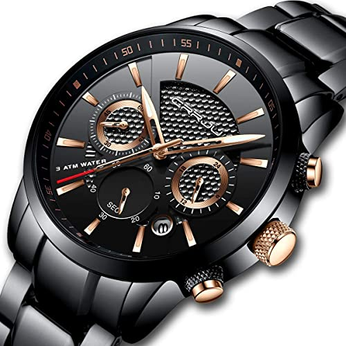 31b031d67e43 Amazon.com  CRRJU Mens Stainless Steel Watches Date Casual Wrist Watch with  Black Dial  Watches