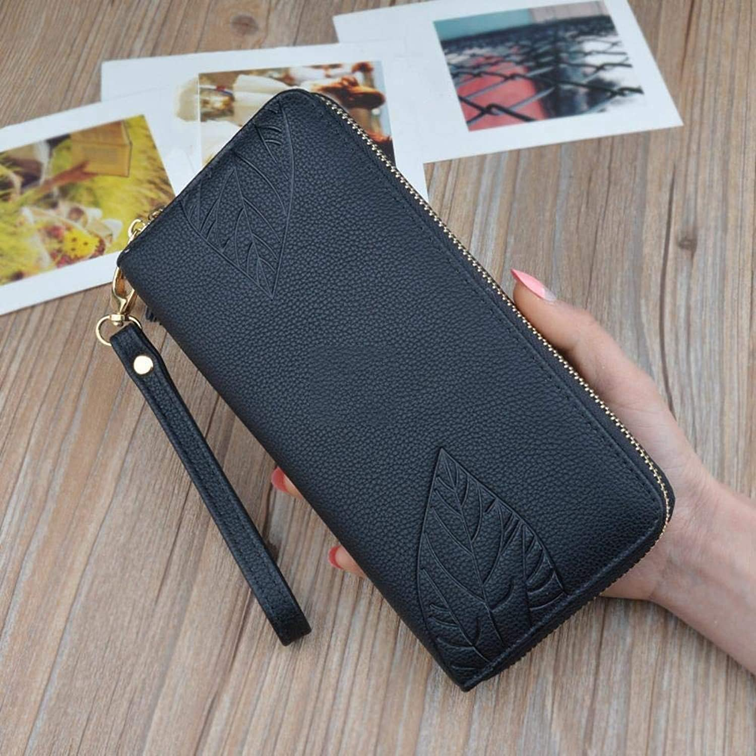 Girls Purse Women's Wallet Large Capacity MultiCard Holder Hand Purse PU Leather (color   B)