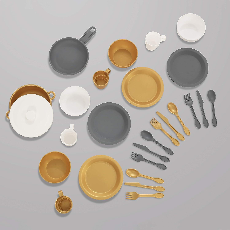 KidKraft 63027 27-teiliges Küchen-Spielset Spielzeug-Geschirrset, Pastellfarben Silber