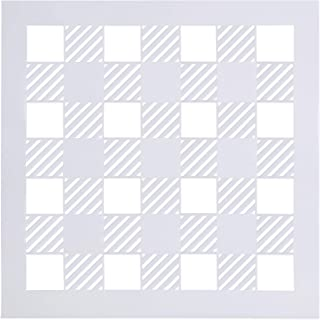 Buffalo Plaid Stencil 12x12 - Reusable Big Check Checker 18 Mil Mylar Template | 30.5 cm x 30.5 cm Milky White- DIY Farmhouse Pattern Stencil for Painting Wood & Wall Art