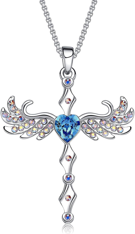 MEGA CREATIVE JEWELRY Collar Cruzada Corazón Azul Alas de Angel Colgante para Mujer Regalo Madre Esposa Abuela Joyería con Cristales