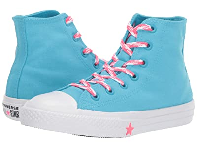 Converse Kids Chuck Taylor All Star Glow Up Hi (Little Kid) (Gnarly Blue/Racer Pink/White) Girls Shoes