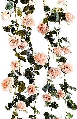 全3色 バラ ガーランド リアル 造花 飾りつけ 装飾 人工 つぼみ付 花 ローズ 薔薇 (ピンク)