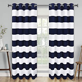 Yastouay Stripe Window Curtain Striped Room Darkening Grommet Curtains 52 × 63 Inches Stripes Drapes for Bedroom Living Room, Blue, Set of 2 Panels