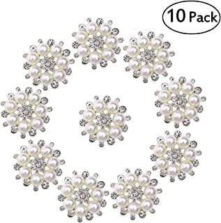 ULTNICE Faux Pearl Flower Buttons Embellishments for Craft (Silver) 10pcs
