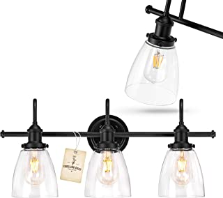 Bathroom Light Fixture - Farmhouse, Vintage, Industrial - 3 Light Bathroom Black Vanity Light Fixture