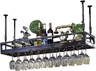 XHCP Organisation de Rangement de Cuisine Porte-Bouteille de vin en Fer métallique |Étagère de Rangement Noire au Plafond...